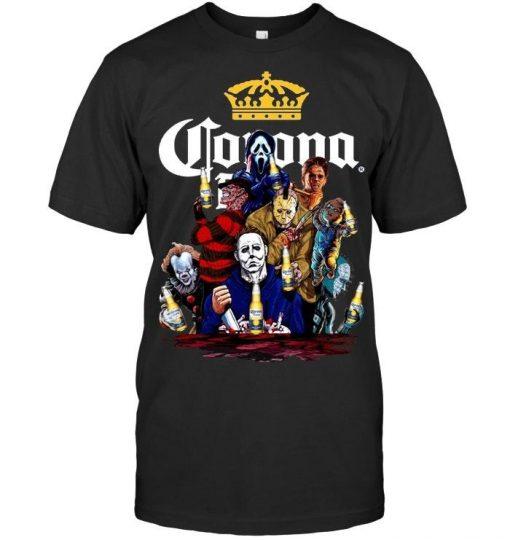 Halloween Horror Characters drinking Corona shirt