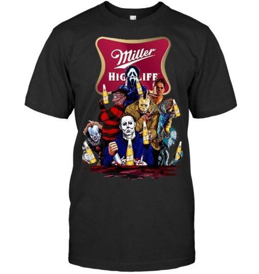 Halloween Horror Characters drinking Miller High Life shirt