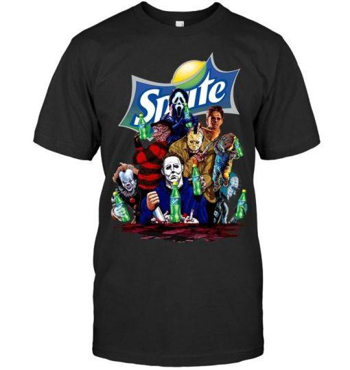 Halloween Horror Characters drinking Sprite shirt