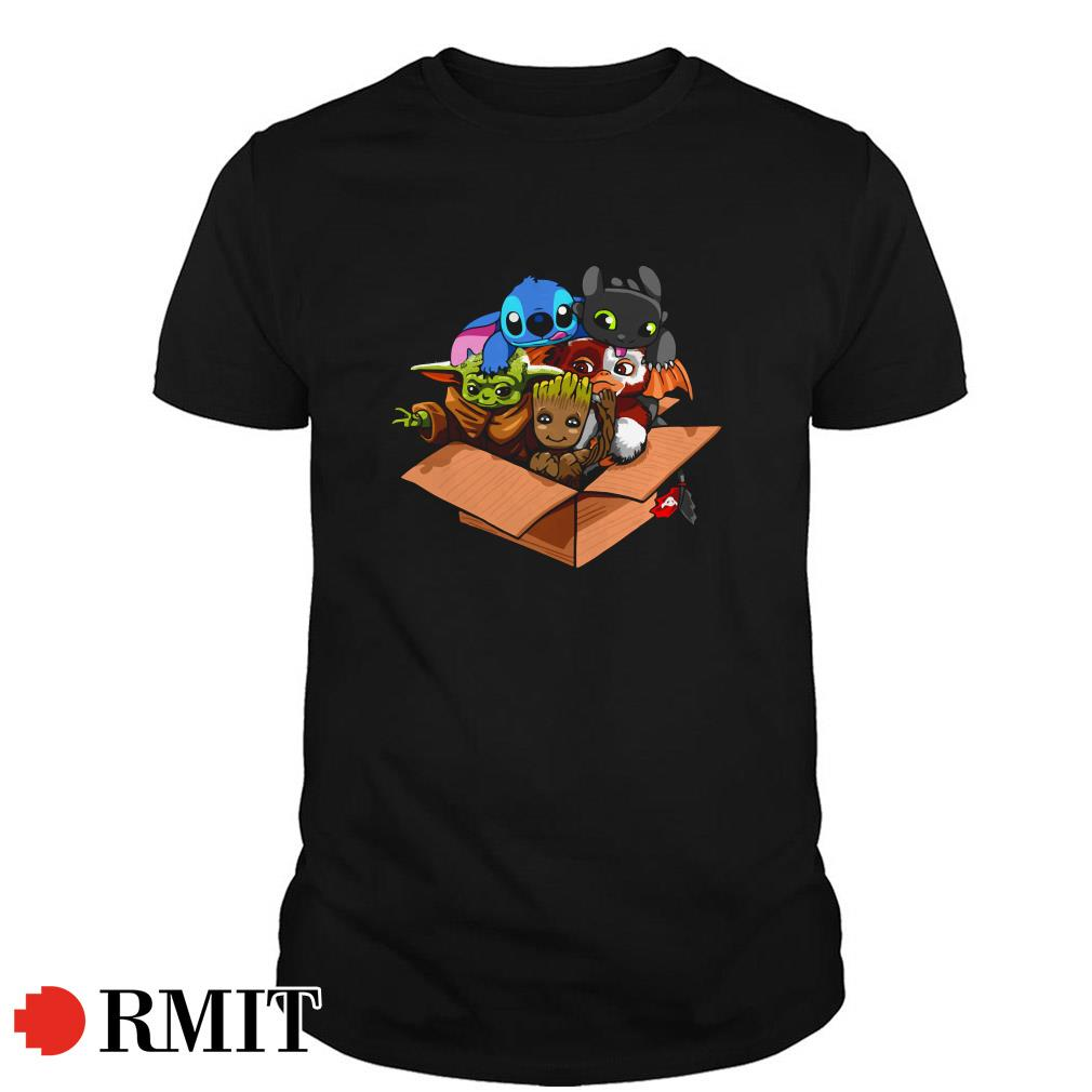 Baby Yoda Baby Gizmo Baby Groot Baby Stitch and Baby Toothless shirt