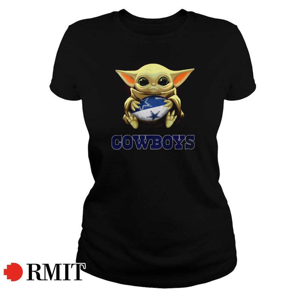Baby Yoda hug Dallas Cowboys Ladies Tee
