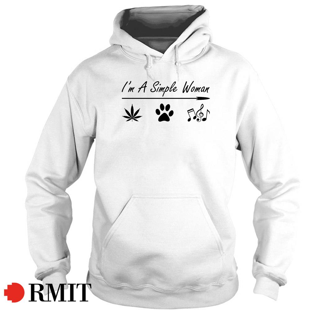 I'm a simple woman Cannabis Dog and Music Hoodie