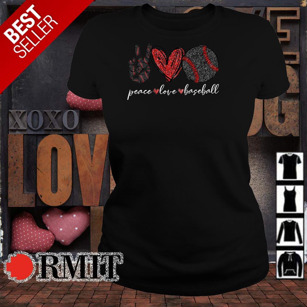 Peace love and baseball shirt Nicefrogtees