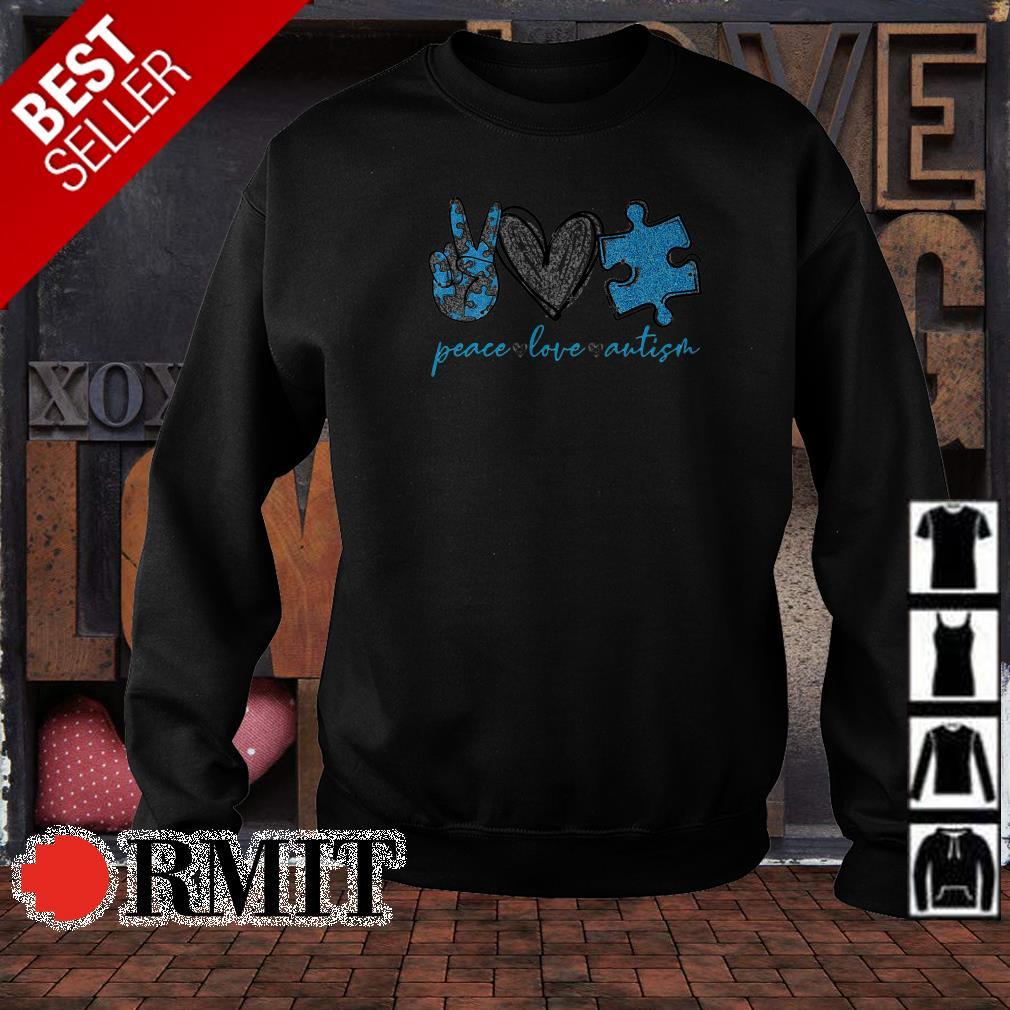Autism Awareness peace love and autism shirt from Nemoshirt