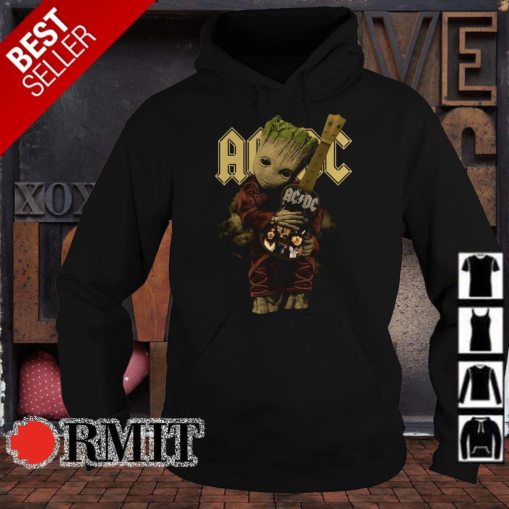 Baby Groot hug ACDC guitar shirt