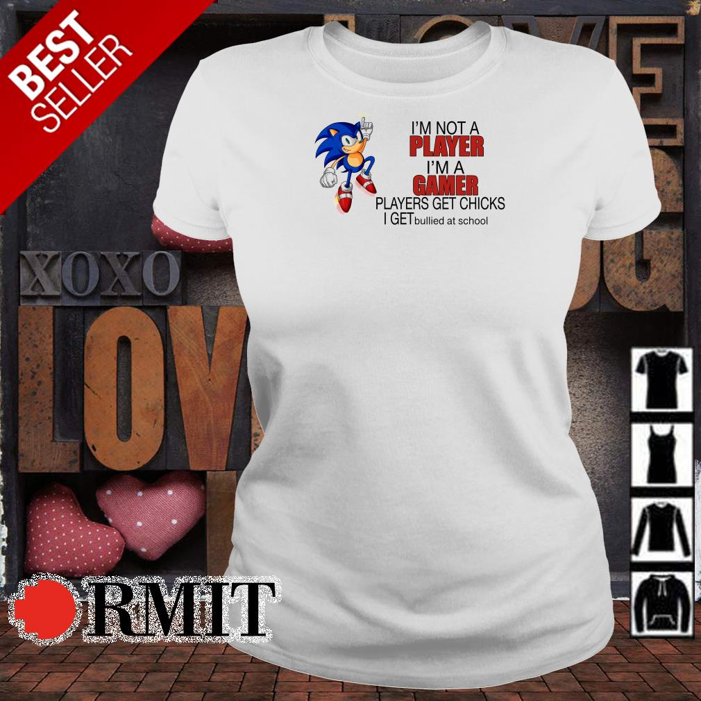 Sonic I'm not a Player I'm a Gamer players get chicks I get bullied at school shirt