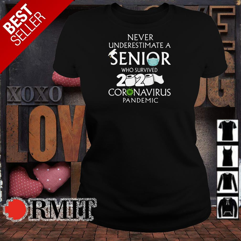 Never underestimate a senior who survived 2020 coronavirus pandemic shirt