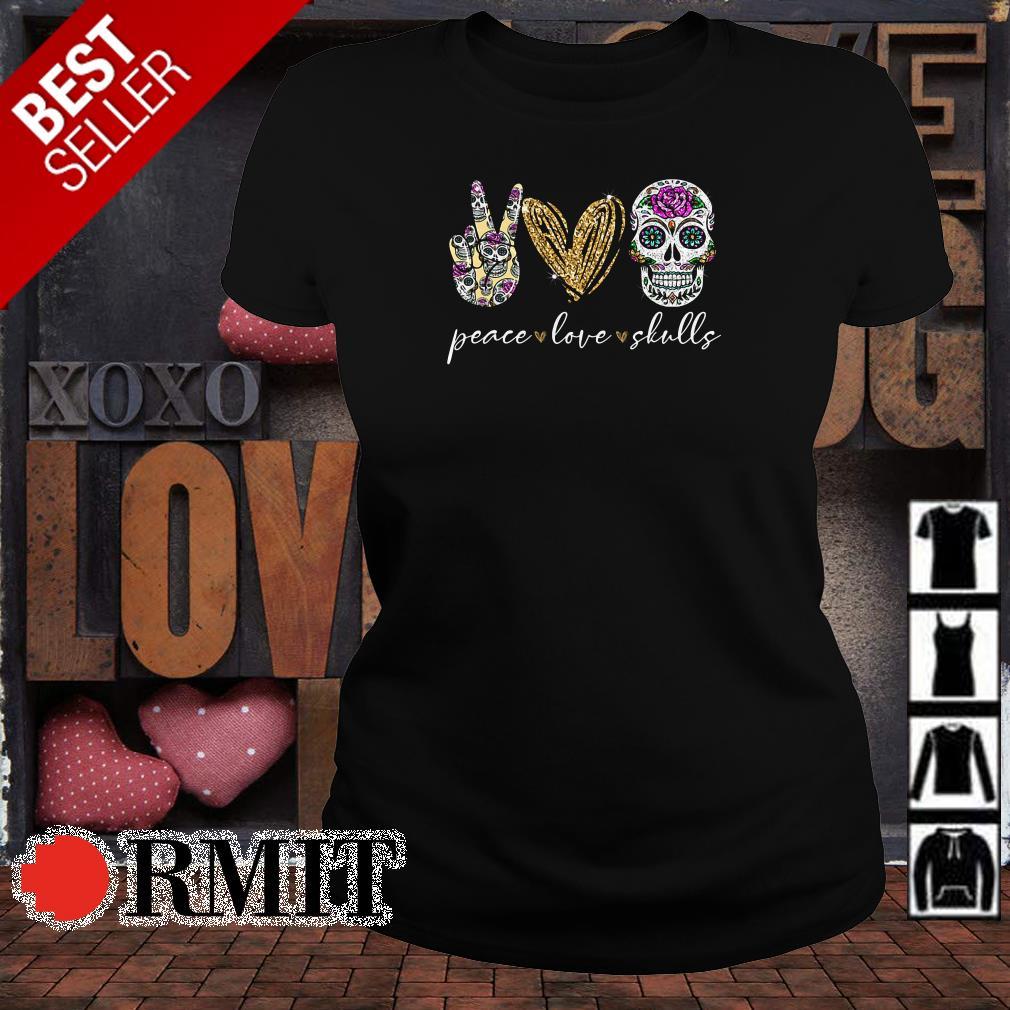 Peace love and skulls diamond shirt