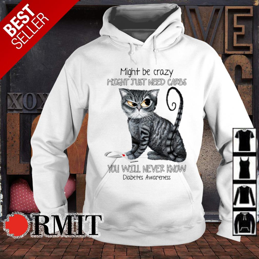 Cat might be crazy might just need carbs you will never know diabetes awareness s hoodie