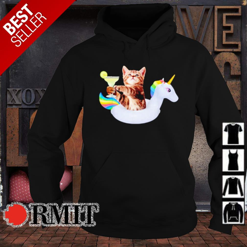 Summer Kitty With Margarita and Unicorn Float Funny Cat s hoodie1
