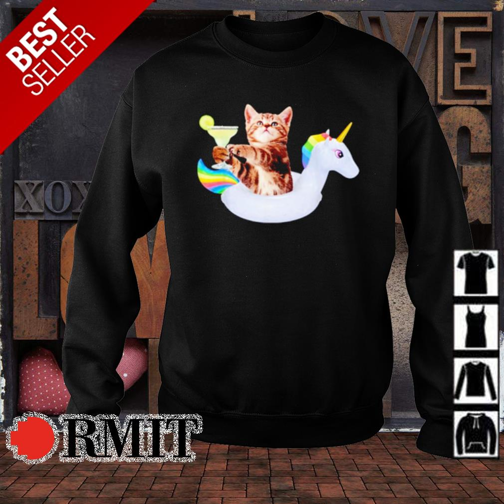 Summer Kitty With Margarita and Unicorn Float Funny Cat s sweater1