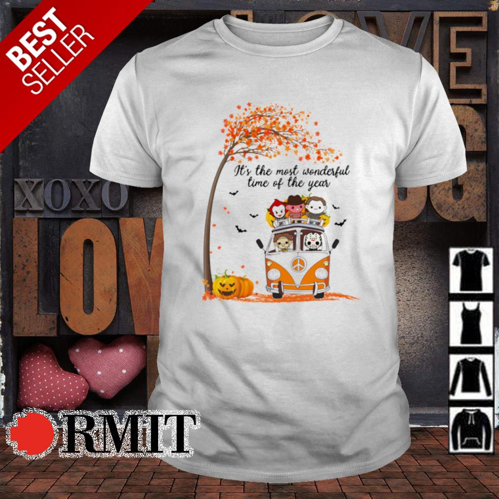 Hippie car Halloween horror characters chibi it's the most wonderful time of the year shirt