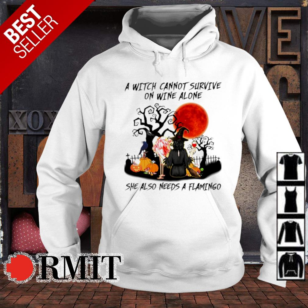 A witch cannot survive on wine alone she also needs a flamingo s hoodie