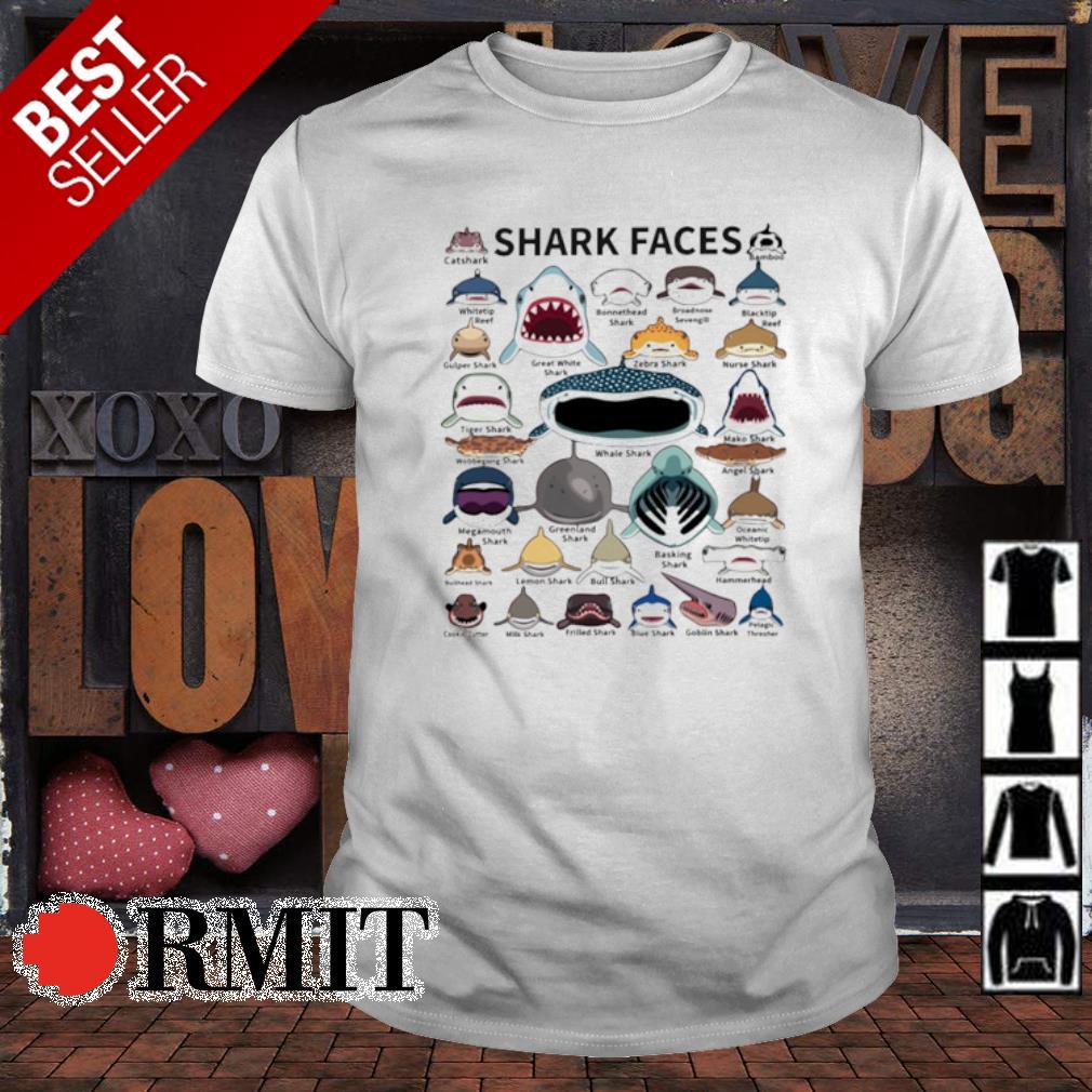 Love all shark faces shirt