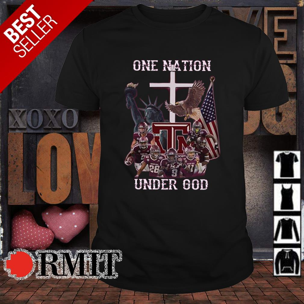 Texas A&M Aggies one nation under God American flag shirt