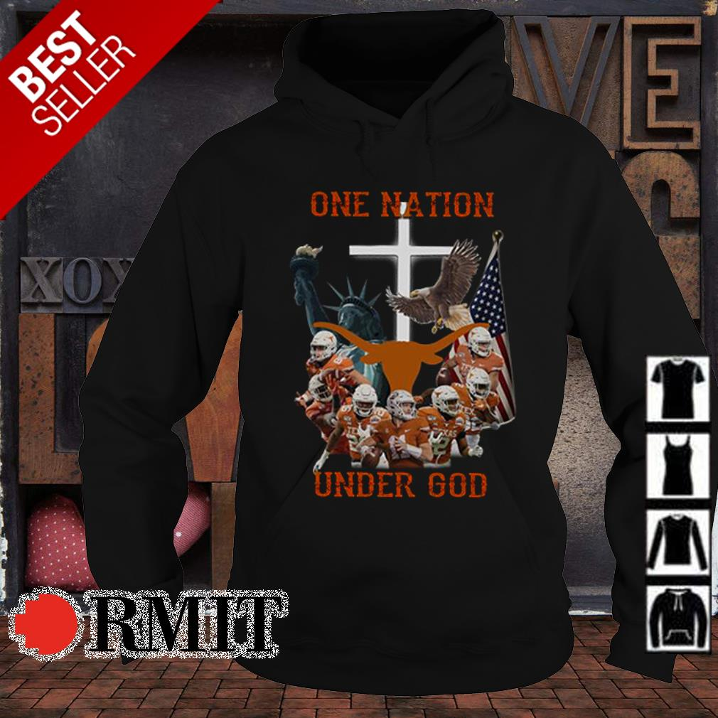 Texas Longhorns one nation under God American flag s hoodie1