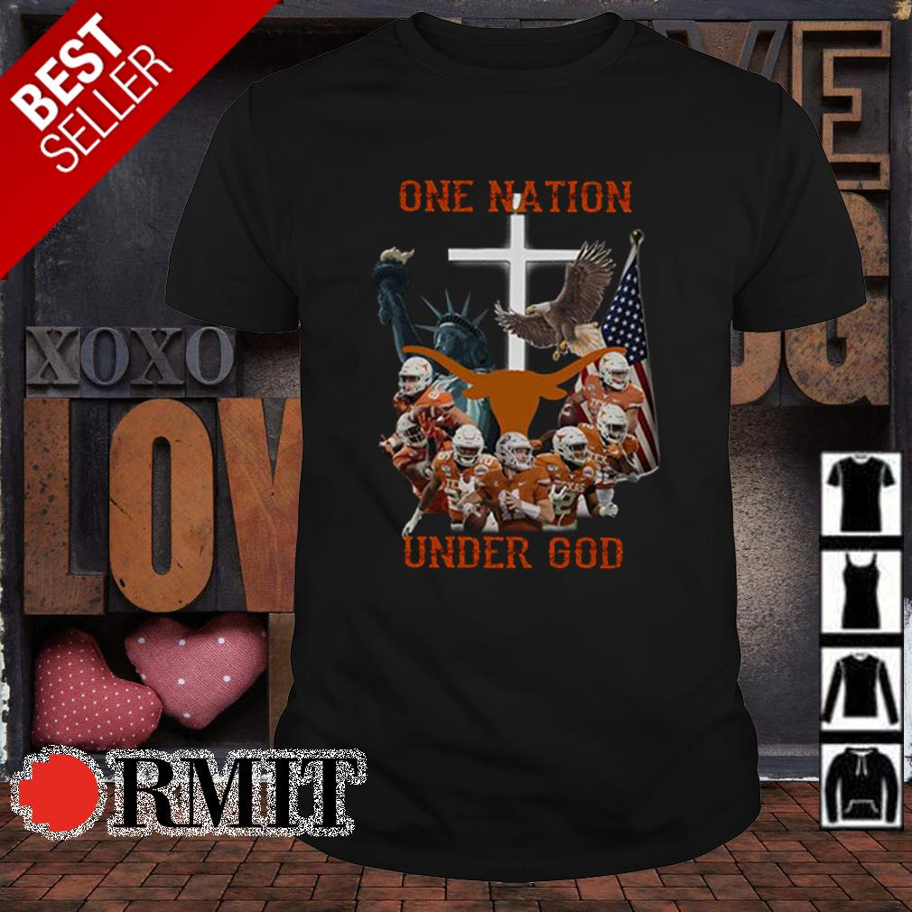 Texas Longhorns one nation under God American flag shirt