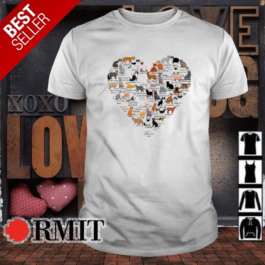 Cats as heart love shirt