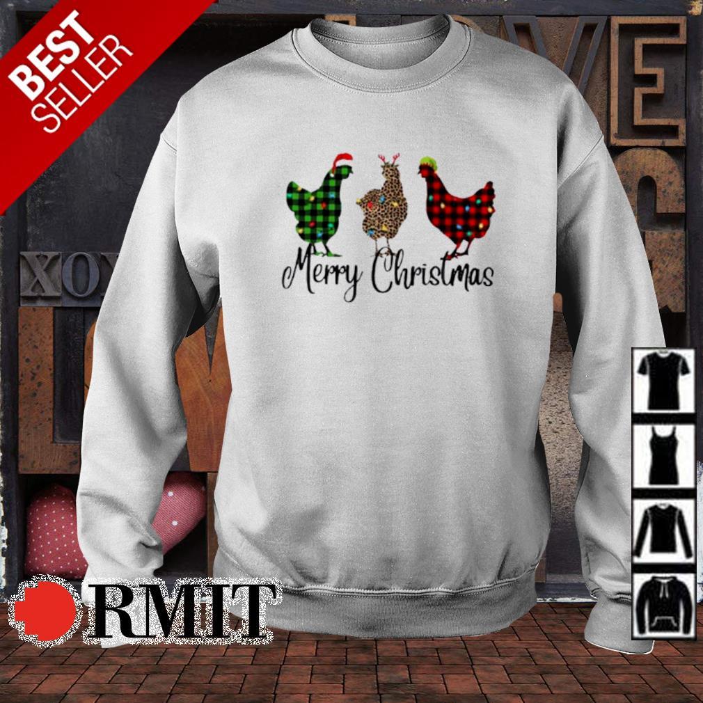 Santa Reindeer Elf three hens Merry Christmas s sweater