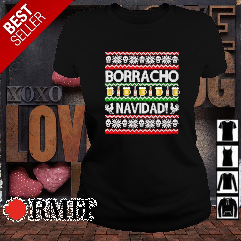 Skull borracho navidad beer Christmas s ladies-tee1