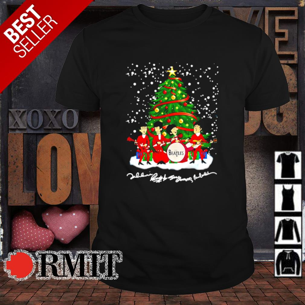 The Beatles chibi signature Christmas tree shirt